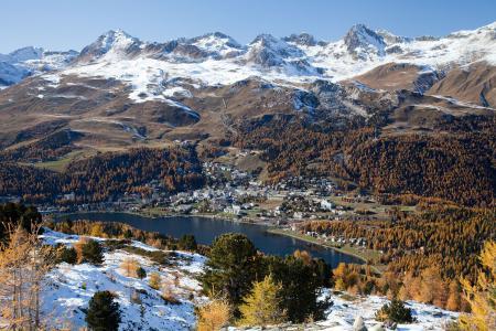 Фото горы, лес, осень, снег