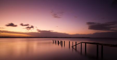 Фото пирс, мостик, закат, море