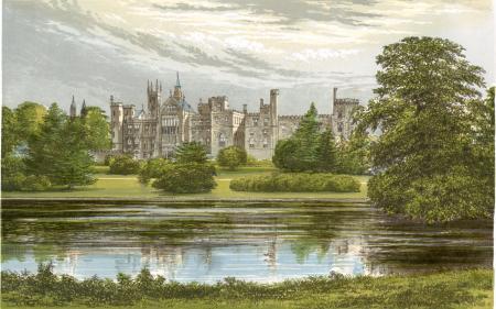 Обои замок, деревья, пруд, рисунок