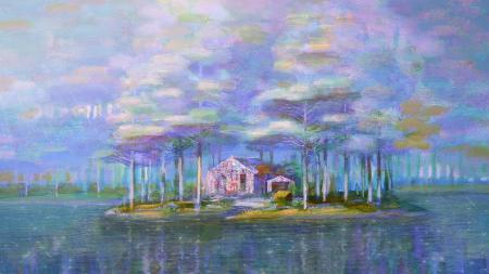 Обои Iblard Jikan, река, дом, картина