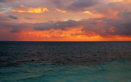 Картинки горизонт, закат, небо, облака