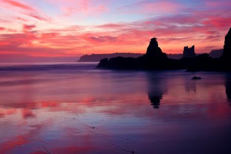 Фотографии вечер, закат, розовый, брег