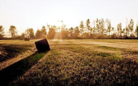 Картинки закат, поле, лучи солнца, стог