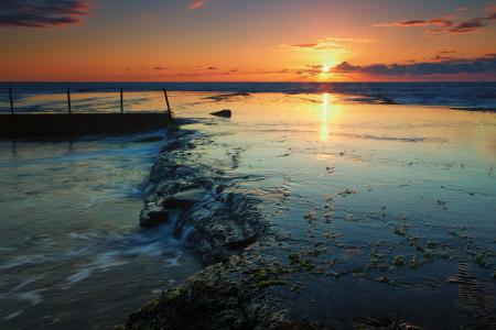 Обои море, солнце, закат, скалы