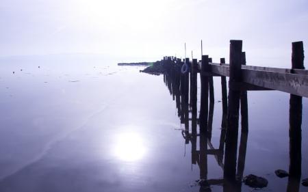Фото озеро, мост, пейзаж, утро