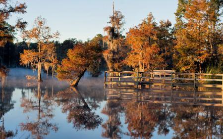 Заставки осень, озеро, мост, пейзаж