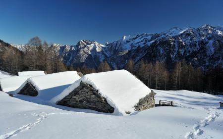 Фотографии зима, горы, дом, снег