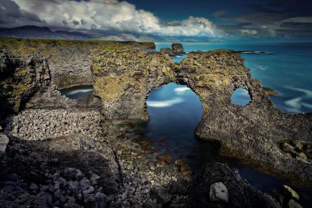 Обои скалы, арка, небо, море