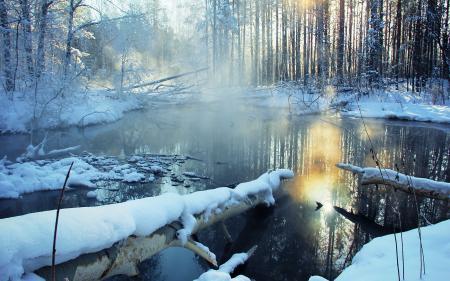 Заставки зима, река, лес, снег
