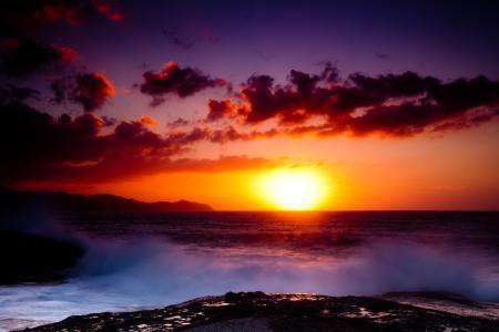 Обои море, горы, солнце, закат