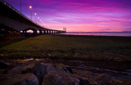 Картинки закат, небо, река, мост