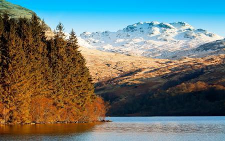 Заставки озеро, горы, деревья, пейзаж