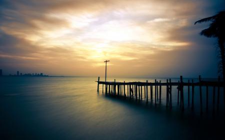 Фотографии закат, море, мост, пейзаж