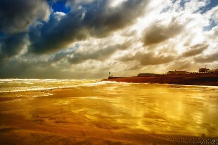 Картинки море, небо, облака, пляж