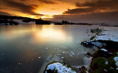 Заставки небо, закат, озеро, лед