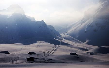 Фотографии зима, горы, дома, дорога