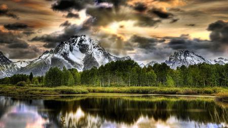 Заставки Oxbow Bend Lake, Grand Teton National Park, озеро, горы
