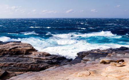 Фото океан, волны, камни, пейзаж