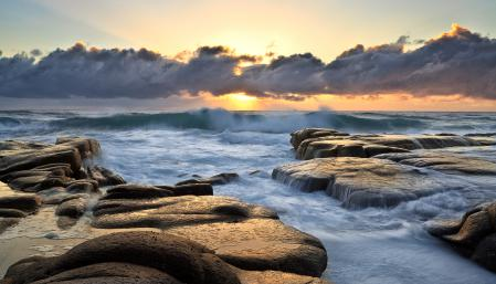 Фото море, небо, облака, солнце