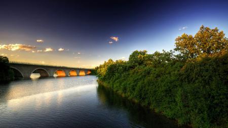 Фотографии мост, арка, растения, вода