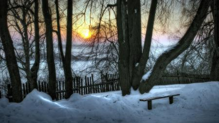 Фото закат, зима, деревья, скамья
