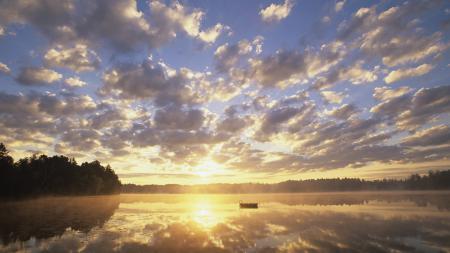 Фото озеро, рассвет, понтон