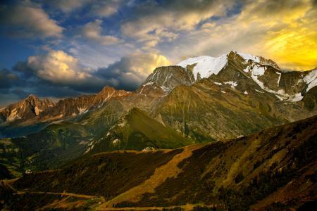 Заставки горы, небо, облака, долина