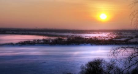 Картинки закат, поле, зима