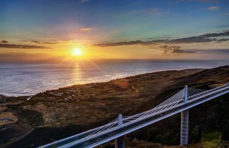 Заставки море, закат, мост, побережье