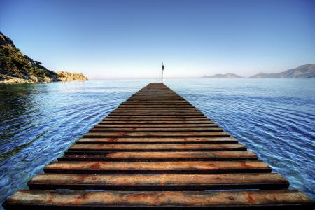Обои море, мост, лето, пейзаж