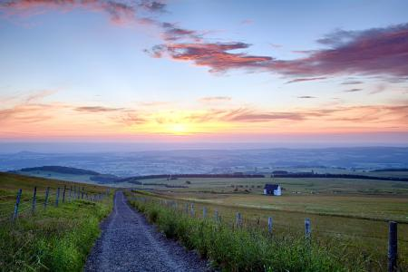 Фото закат, дорога, поле, пейзаж
