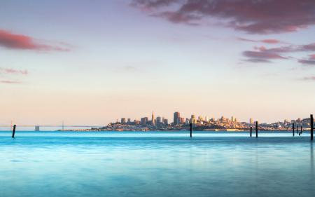 Фото залив, город, небо, пейзаж