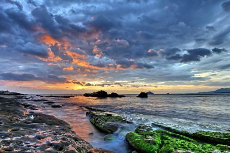 Фотографии море, ночь, камни, мох