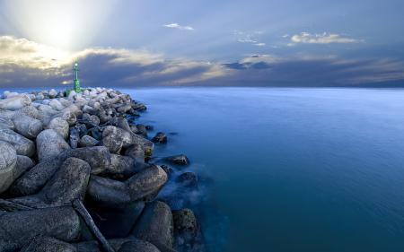Картинки море, ночь, маяк, пейзаж