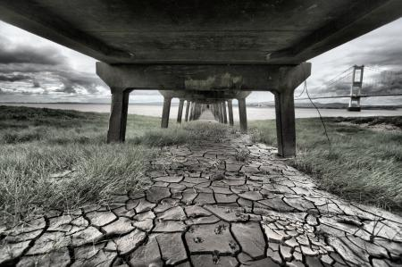 Обои мост, река, под мостом, трава