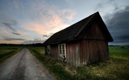 Картинки дорога, дом, закат