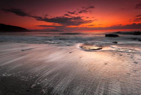 Картинки красный закат, пляж, море