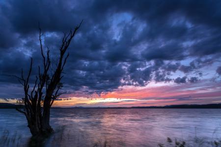 Заставки закат, озеро, небо, пейзаж