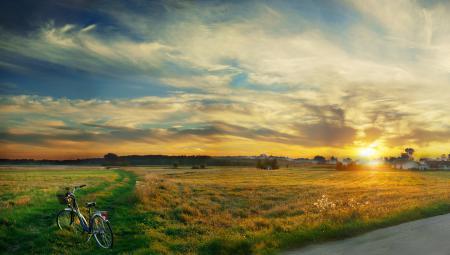 Заставки утро, дорога, трава, велосипед