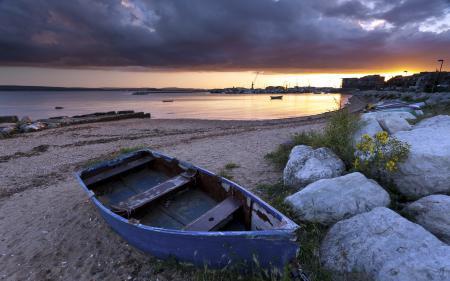 Заставки море, залив, лодка, пейзаж