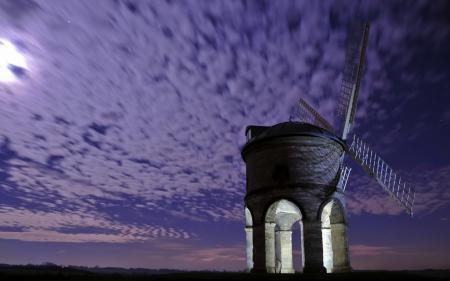 Заставки ночь, мельница, небо