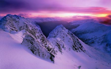 Обои закат, горы, пейзаж