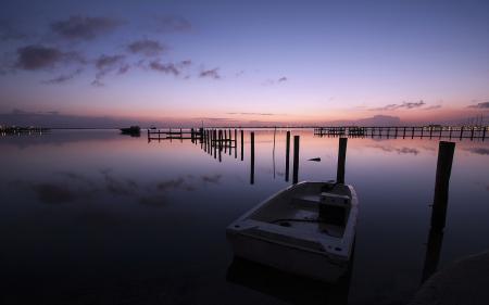 Картинки закат, озеро, лодка