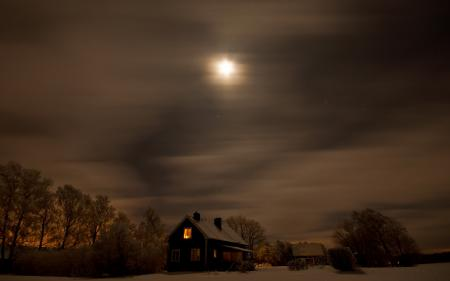 Обои ночь, дом, поле