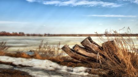 Фото весна, река, снег, природа