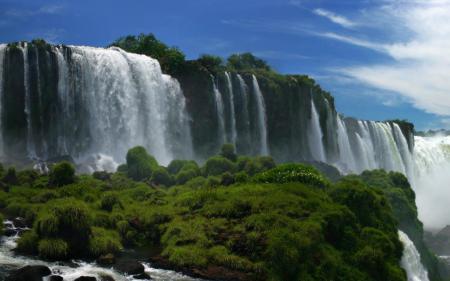 Обои водопад, Игуасу, Аргентина, трава