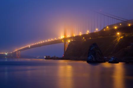 Фотографии Сан-Франциско, мост, огни, сумерки