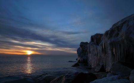 Обои море, закат, лёд, пейзаж