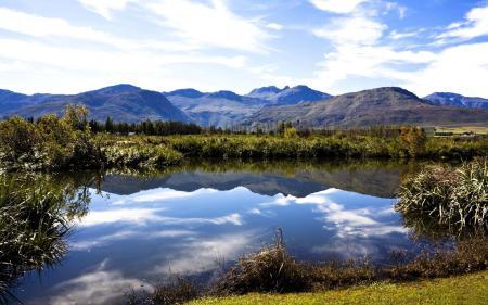 Обои водоем, горы, природа, небо