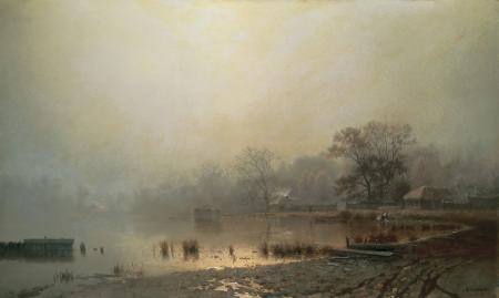 Картинки Туман, красный пруд, село